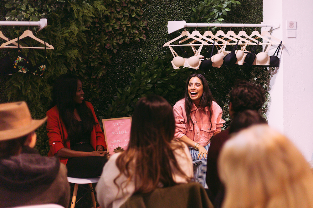 Bianca Valle  in conversation with Novella Founder  Abby Adesanya.  (Photos:  Hanna Yowell )