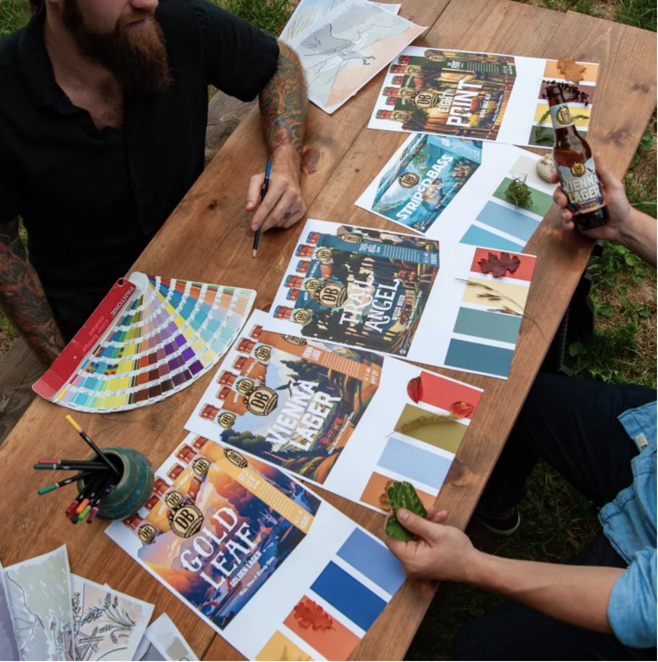 Artists Joel Artz and Dustin Artz working on the new packages. Photograph by Jessica Humphreys, courtesy Devils Backbone.