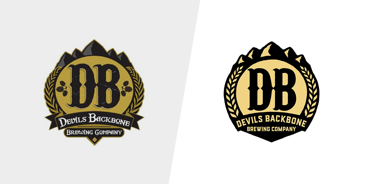 Devils Backbone logo before & after