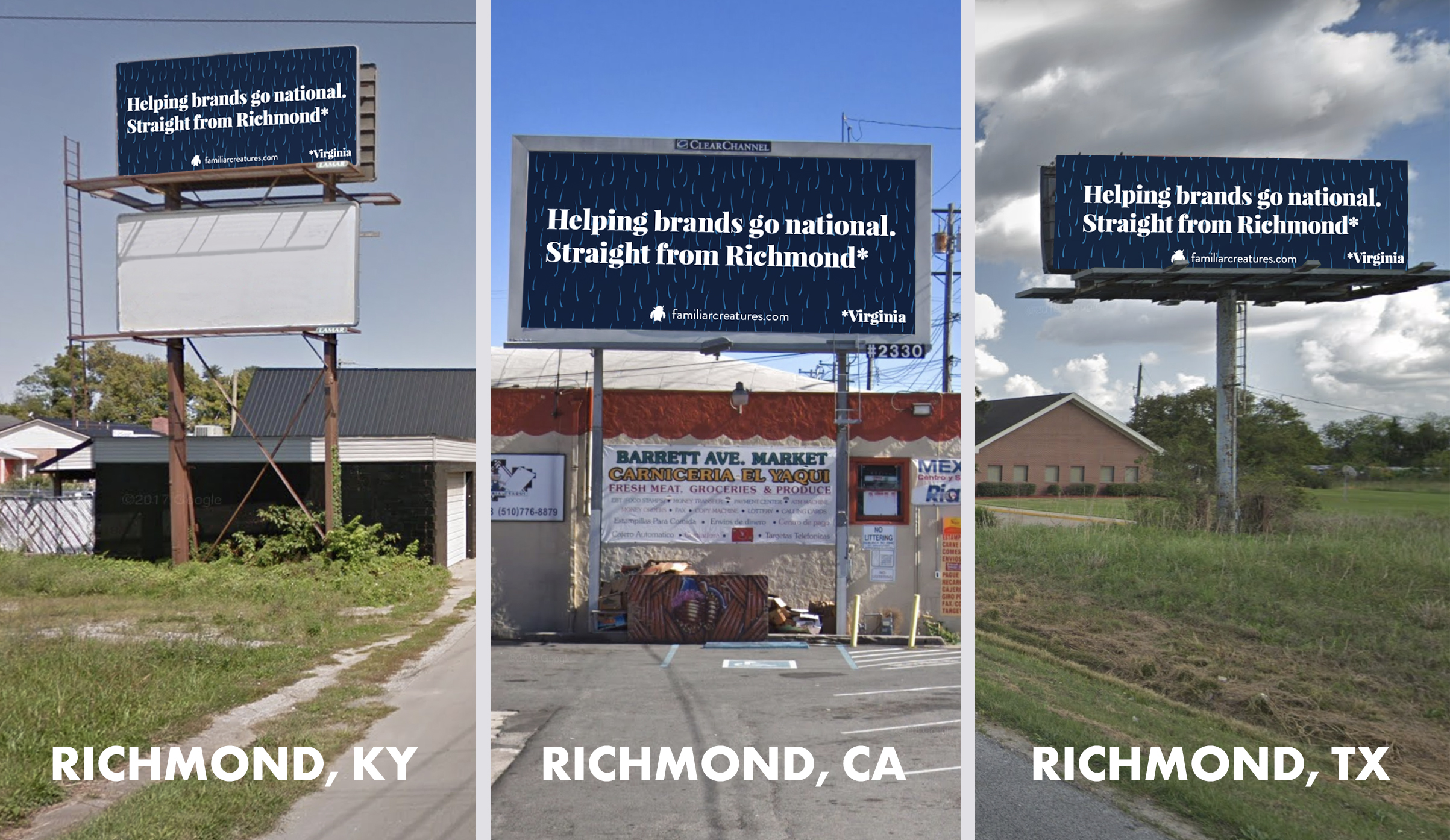 Familiar Creatures' billboards in Richmonds across the country.