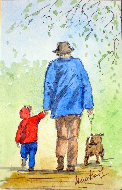 Walking the Dog with Grandad (Watercolour)