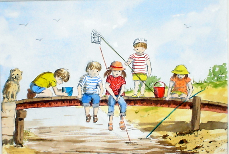 Crabbing at Walberswick (Watercolour)