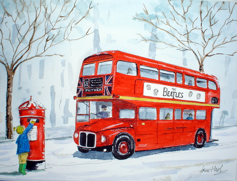 In London Town, Winter (Watercolour)