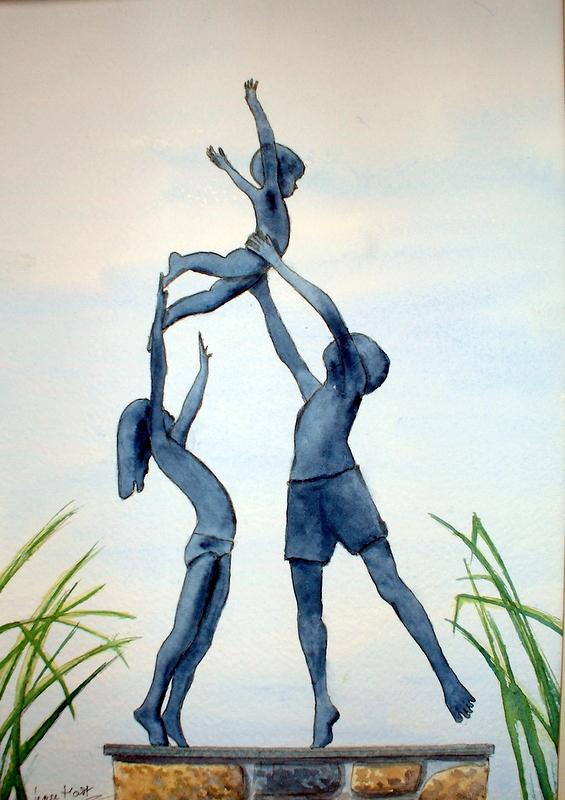 Tresco Children (Watercolour)