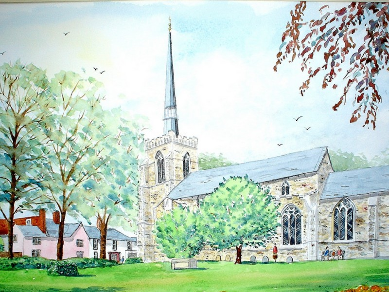 St. Peter & St. Mary's Church, Stowmarket (Watercolour)