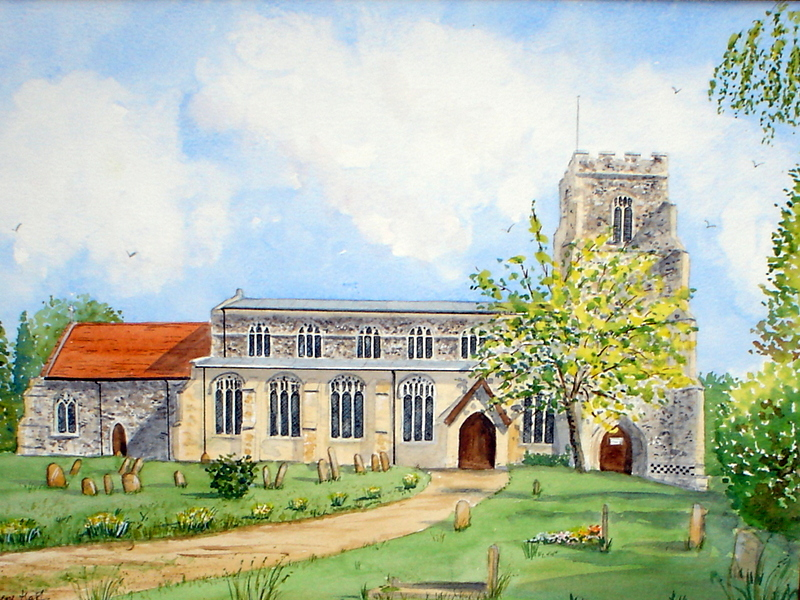 St. Mary's Church, Combs, Suffolk (Watercolour)
