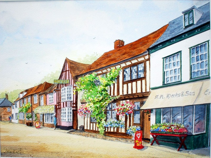 The Market Place, Lavenham (Watercolour)