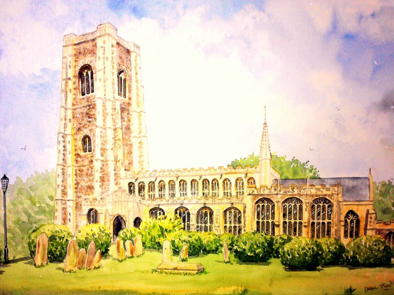 St. Peter's & St. Paul's Church, Lavenham (Watercolour)