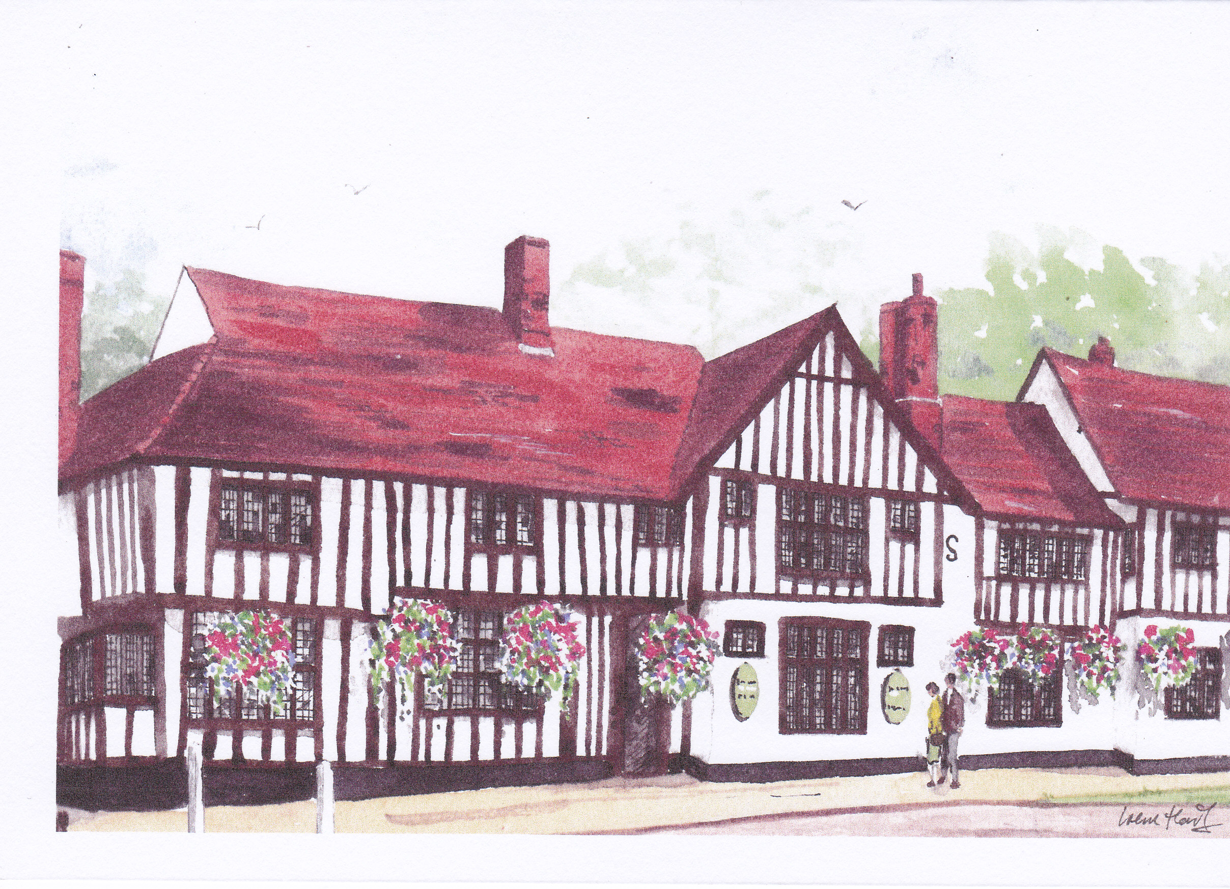 The Bull, Long Melford (Watercolour)