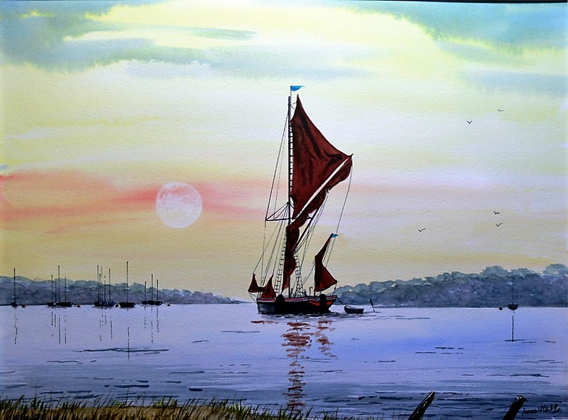 Thames Barge Sailing on the Deben, Suffolk