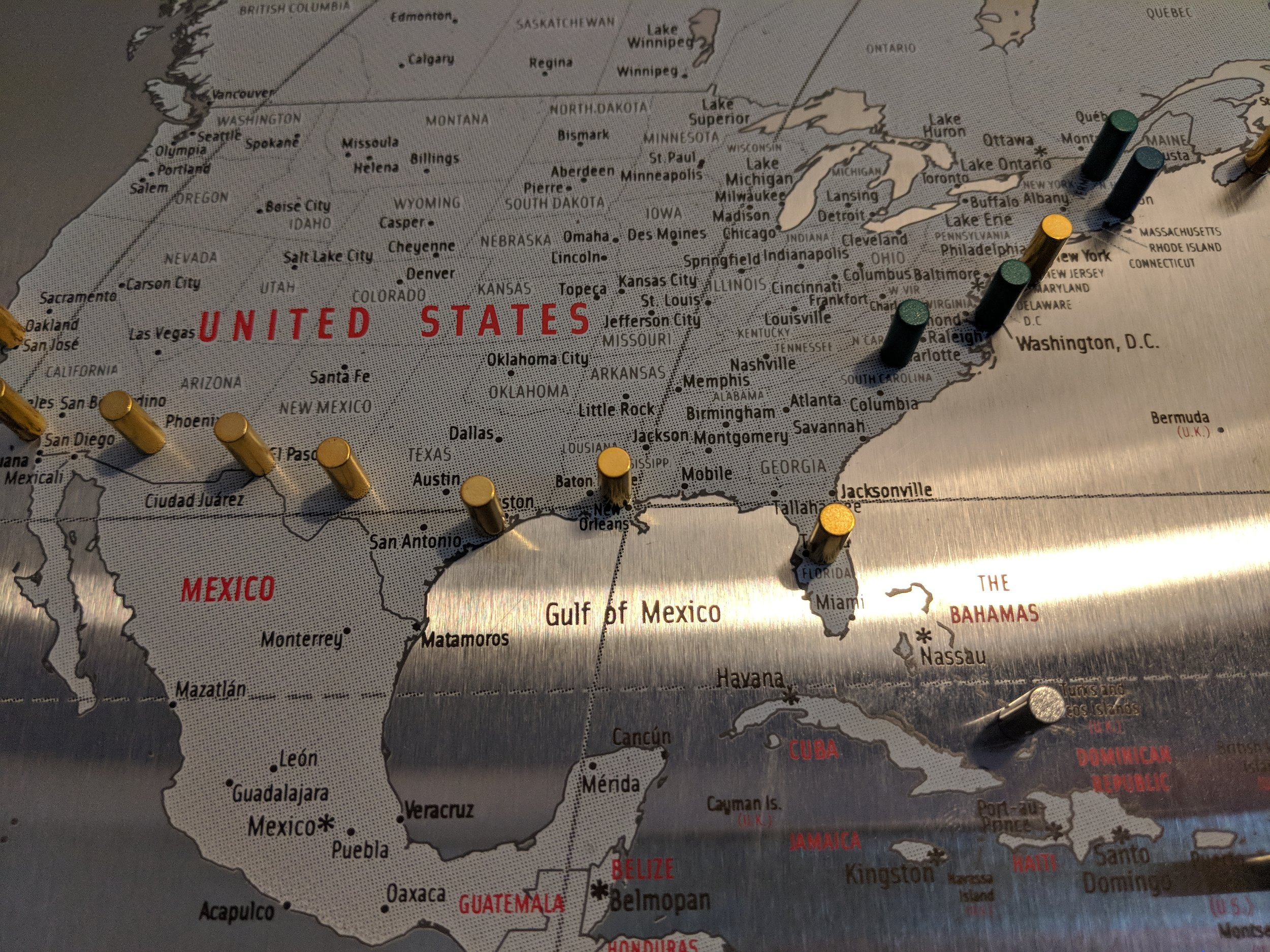 A lot of those gold pegs along the deep south are from our honeymoon.