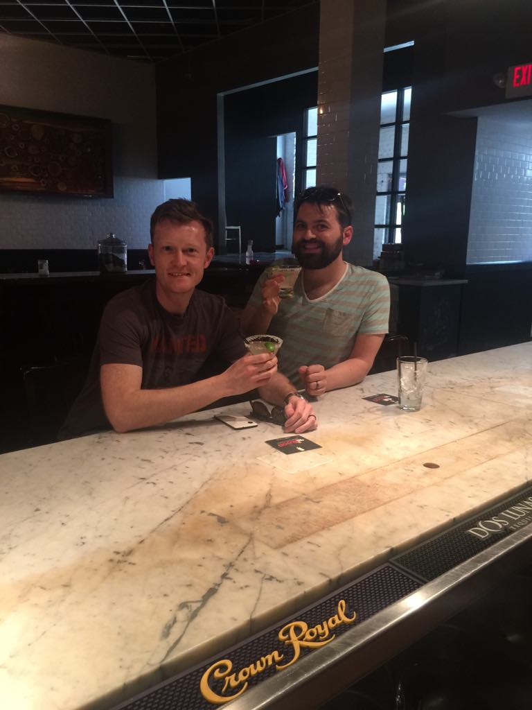We may look relaxed in this photo (taken by our bemused bartender) but actually we're thinking  the train really will leave us stranded in El Paso if we're not back on it in seven minutes and it's a six minute jog back to the station from here.