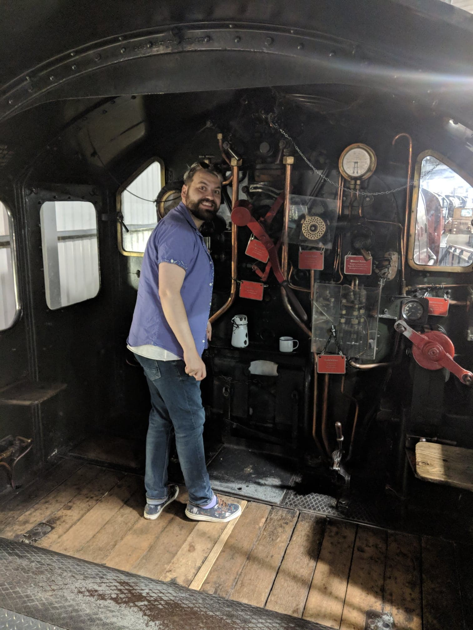 Stepping up to the footplate in The Engine House. This obsession with steam trains must be catching.