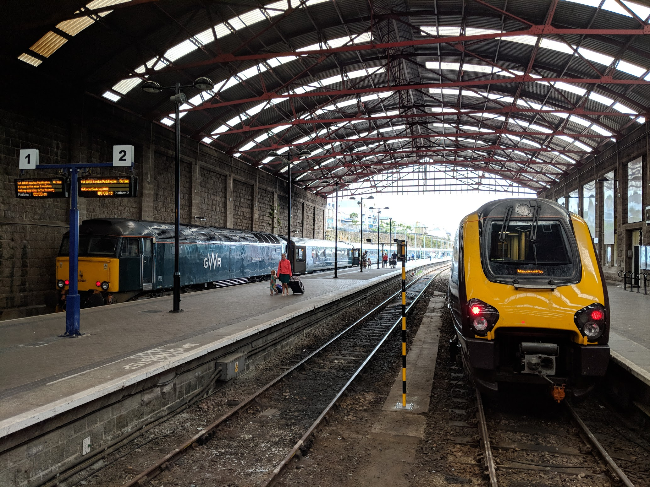 - Old and new trains, side by side. Our arrival in Penzance.