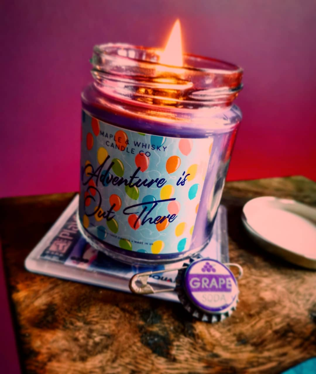 Adventure is Out There is just one of the many scents available from Maple & Whisky Candle Co
