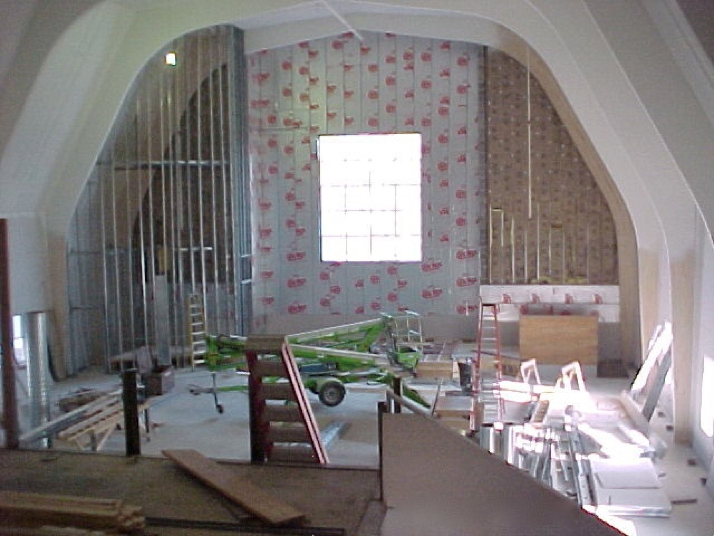 Chancel and large window in process (1998)