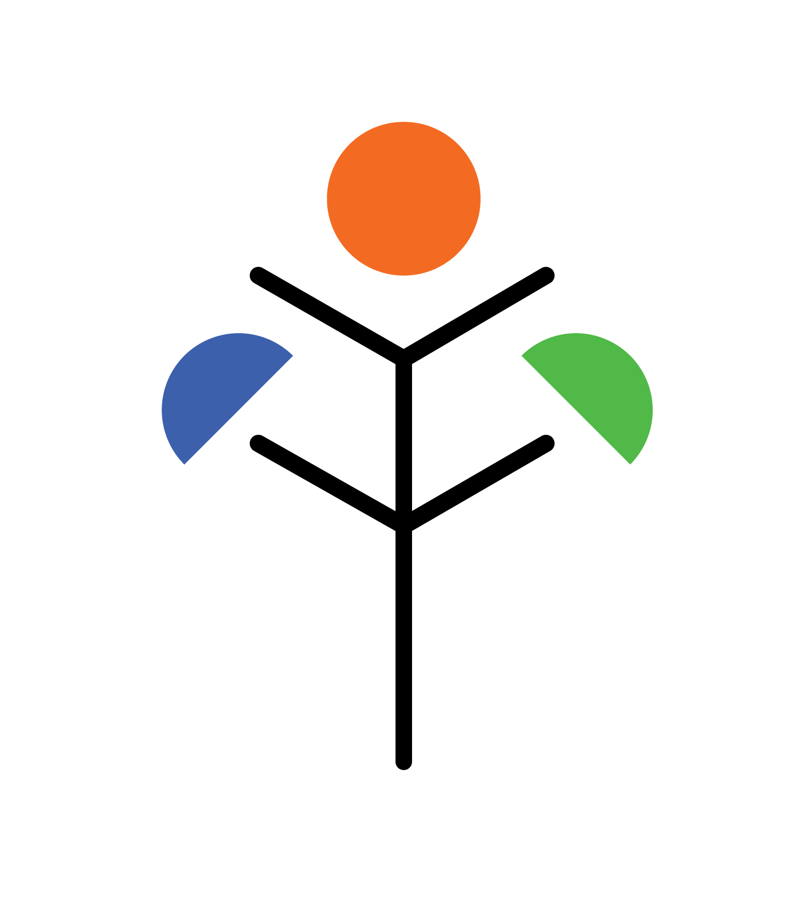Brendon Fraser's Personal Logo - A personal design for my own works and projects, designed in collaboration with Karma Ääpälä. An F is used to represent my last name, mirrored to create a tree to show my interest in wooden architecture. The orange circle is used to represent my architecture, orange being the colour of creativity and youth. Blue is used to represent my photography work, blue representing theory and intellect. Green is used to represent my cooking and brewing, with green also showing vitality and growth.