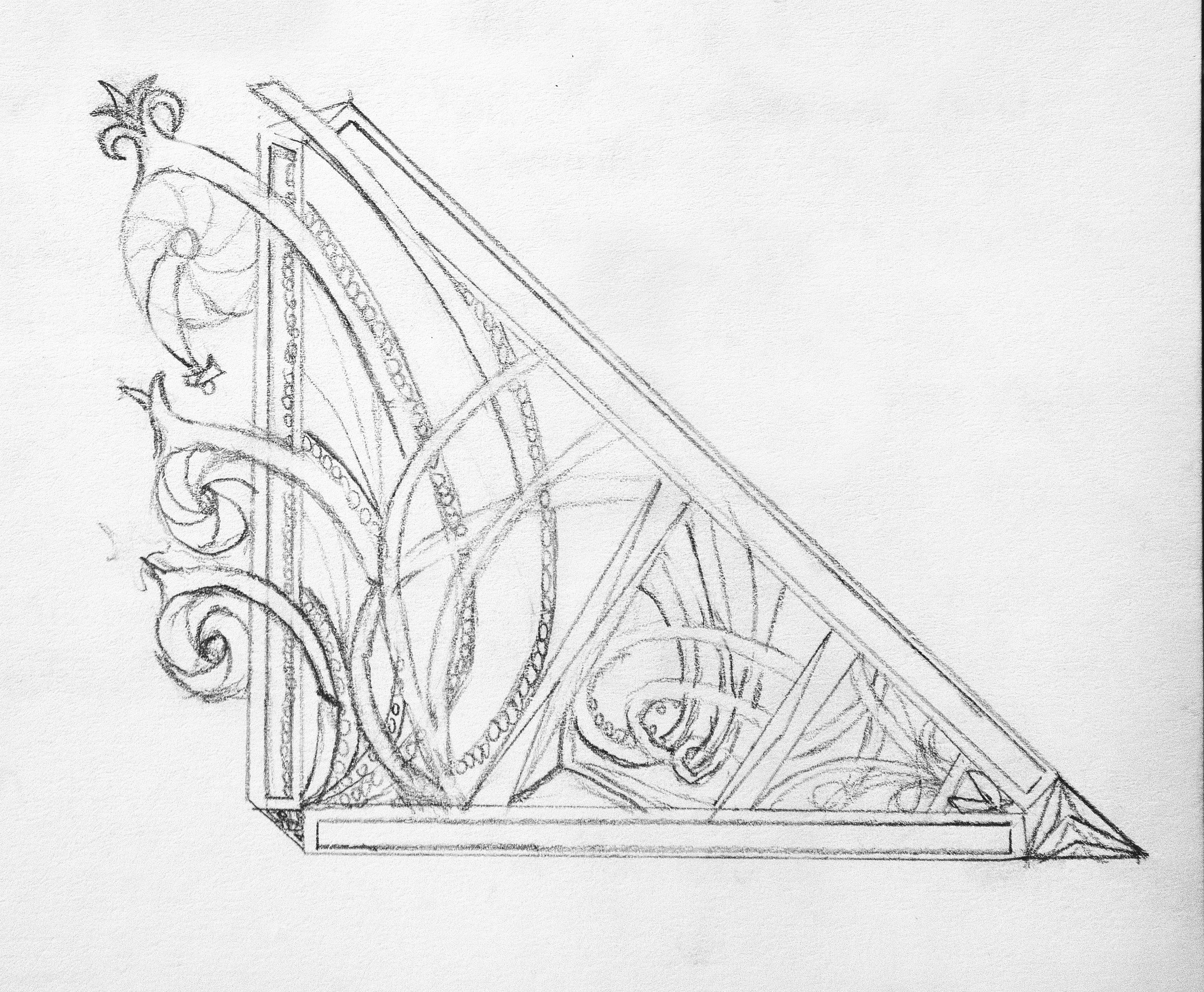 An ornamental frieze for a triangle piece.