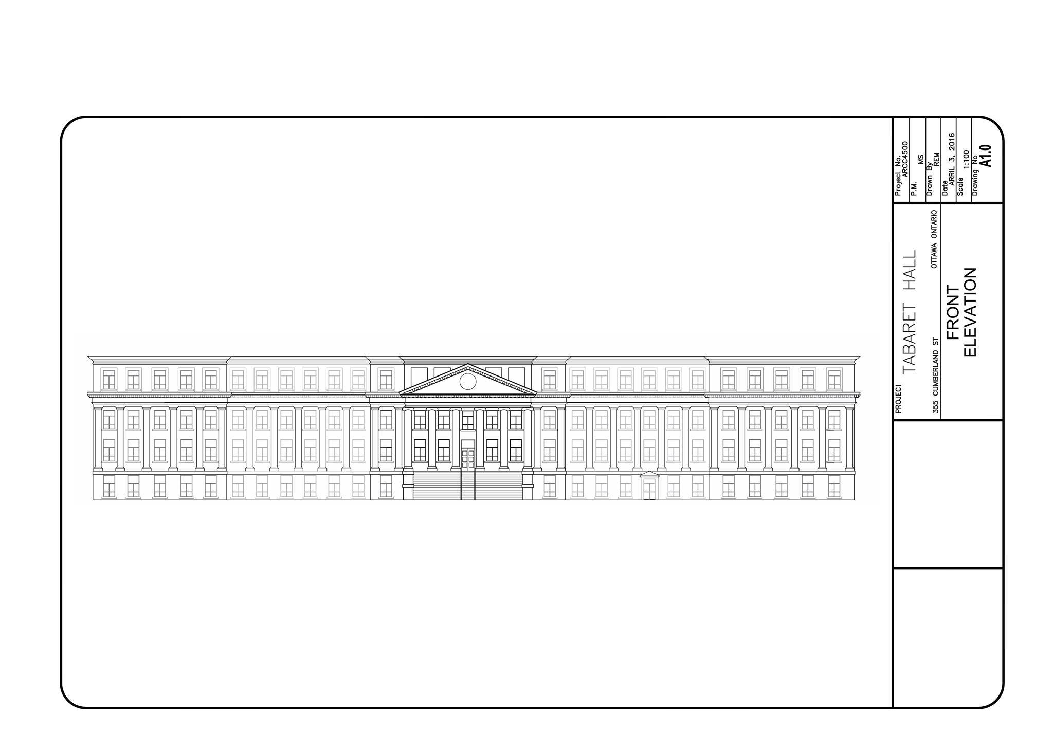 Front Elevation drawing of Tabaret Hall on uOttawa campus, done with the help of rectified photography