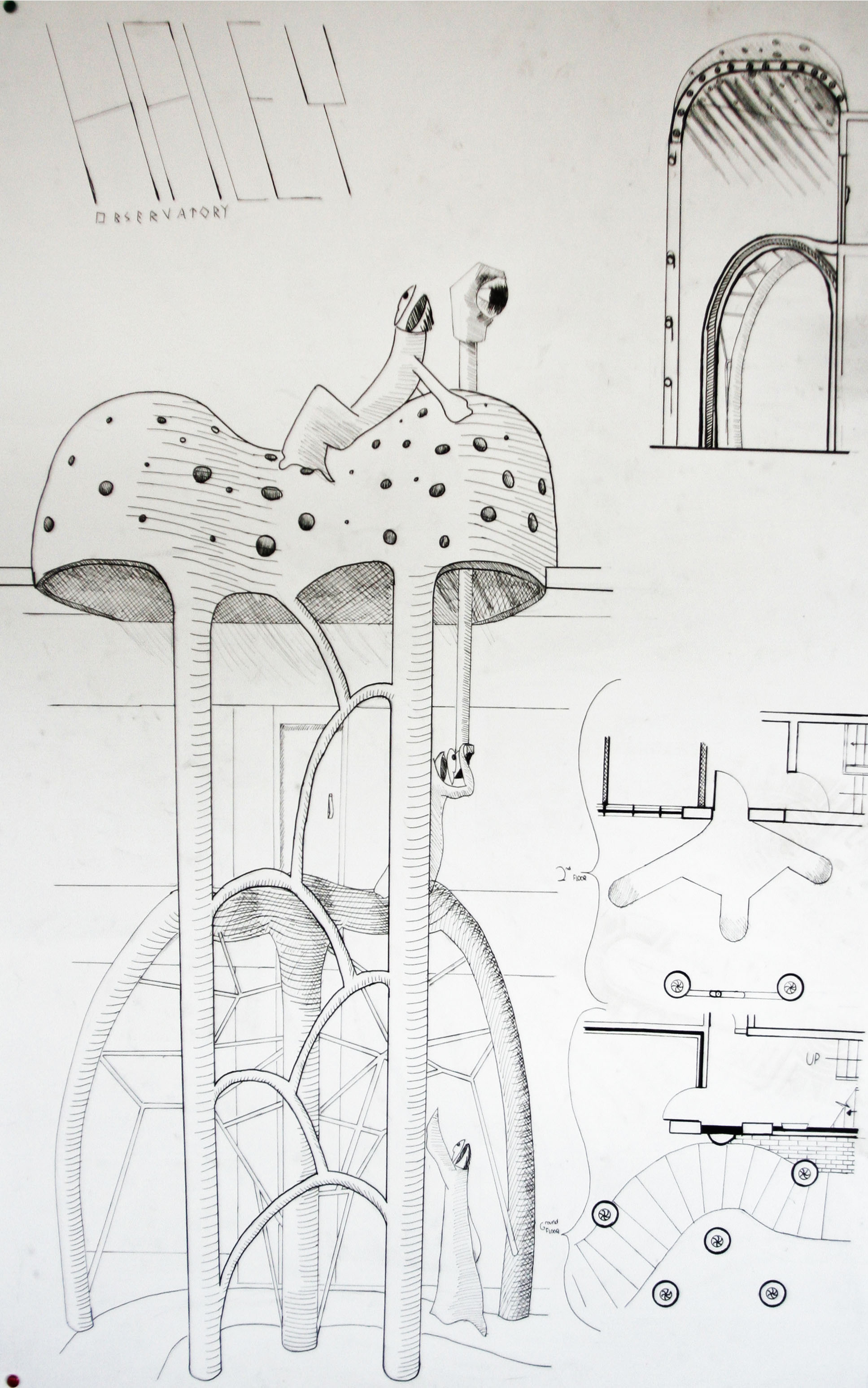 Final design of the observatory. Dome converts to outdoor seating area with periscope to view above the nearby buildings