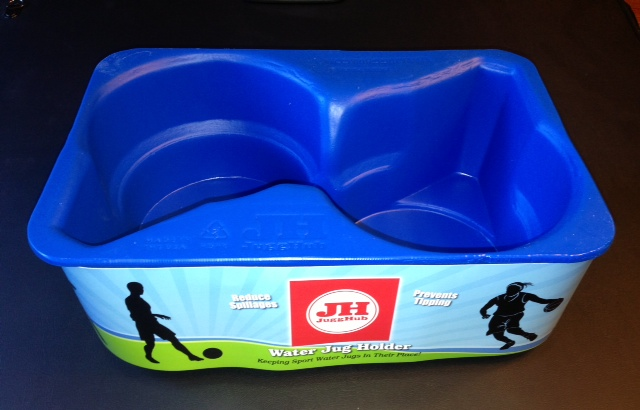 Jugg Hub ™  Sport Water Jug Holder- Accommodates gallon and half gallon size jugs. Great when used with Igloo, Coleman, Under Armor, Rubbermaid, and Bubba brands.