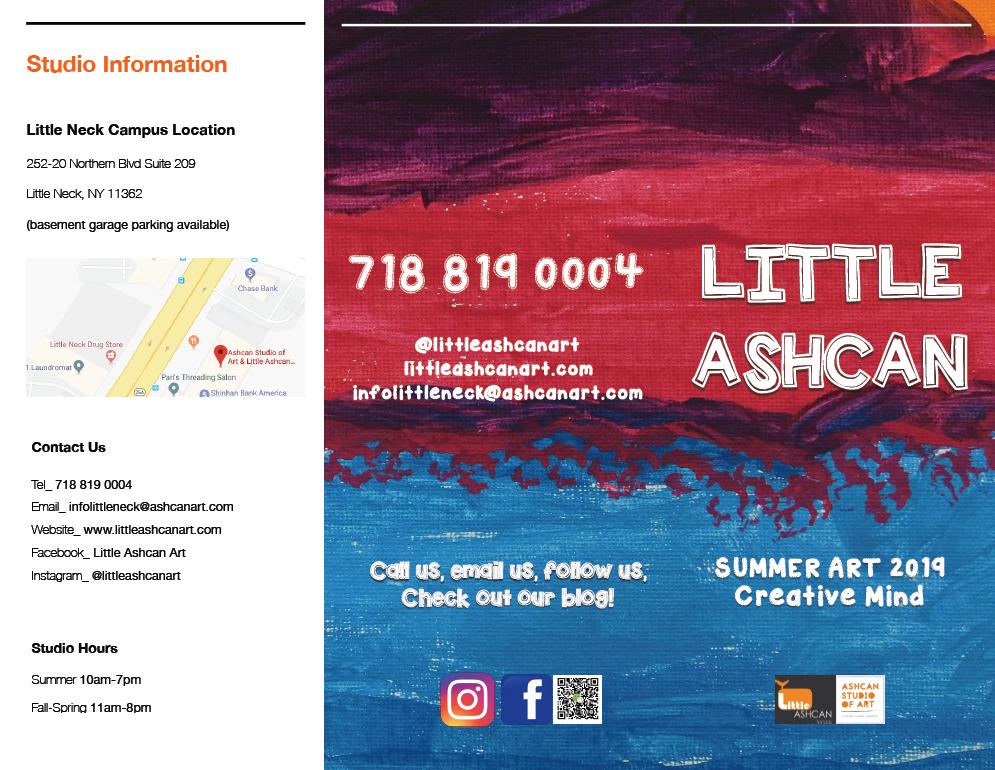Studio location, contact information, studio hours, social media handles