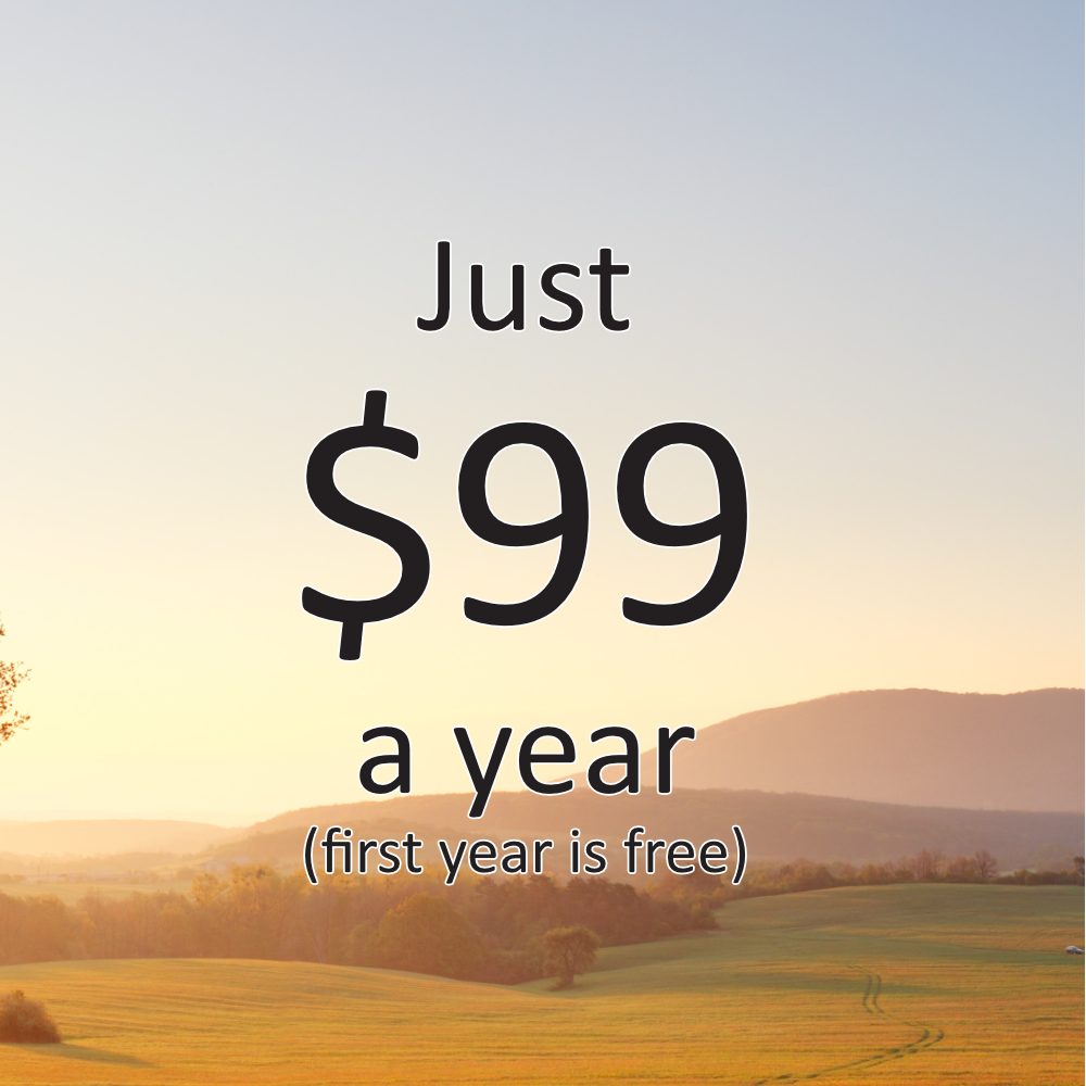 The first year of service is free and won't cost you a dime. If you'd like to continue using our award winning service after the first year, it's just $99.