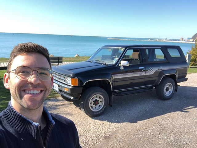 Headed West with this beauty, back window down all the way.  What a gorgeous part of the earth. What a vehicle.  #goderich #1stgen4runner #lakehuron