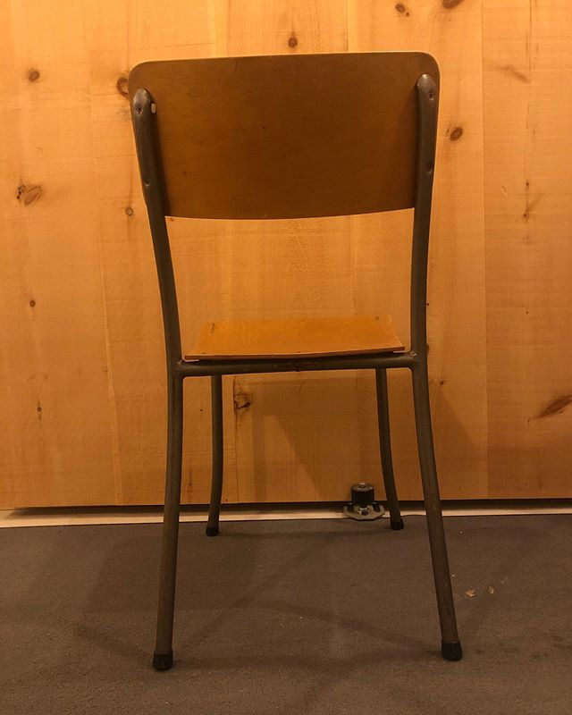 Maple plywood and steel stackable chairs.  Union Made in places like Toronto and Woodstock and Montreal.  Stackable, durable, light, strong and usable.  Perfect patina.  #vintagechairs #industrialsalvage #churchbasement #diningchairs  #patinaporn