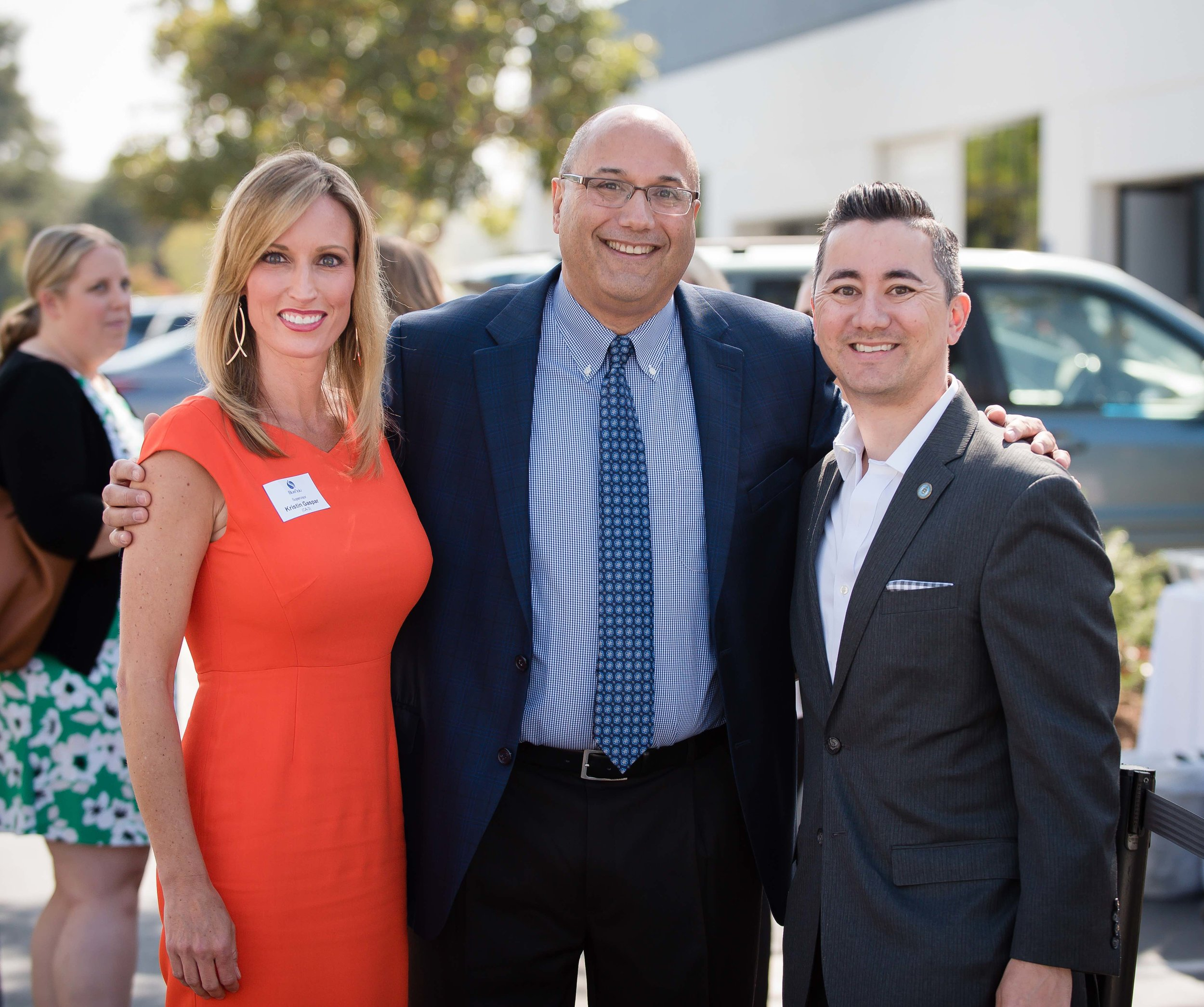 County Supervisor Kristin Gaspar, Lou Cooperhouse, CEO of BlueNalu, and Councilmember Chris Cate at the BlueNalu Ribbon Cutting Ceremony, Earth Day, April 22, 2019.