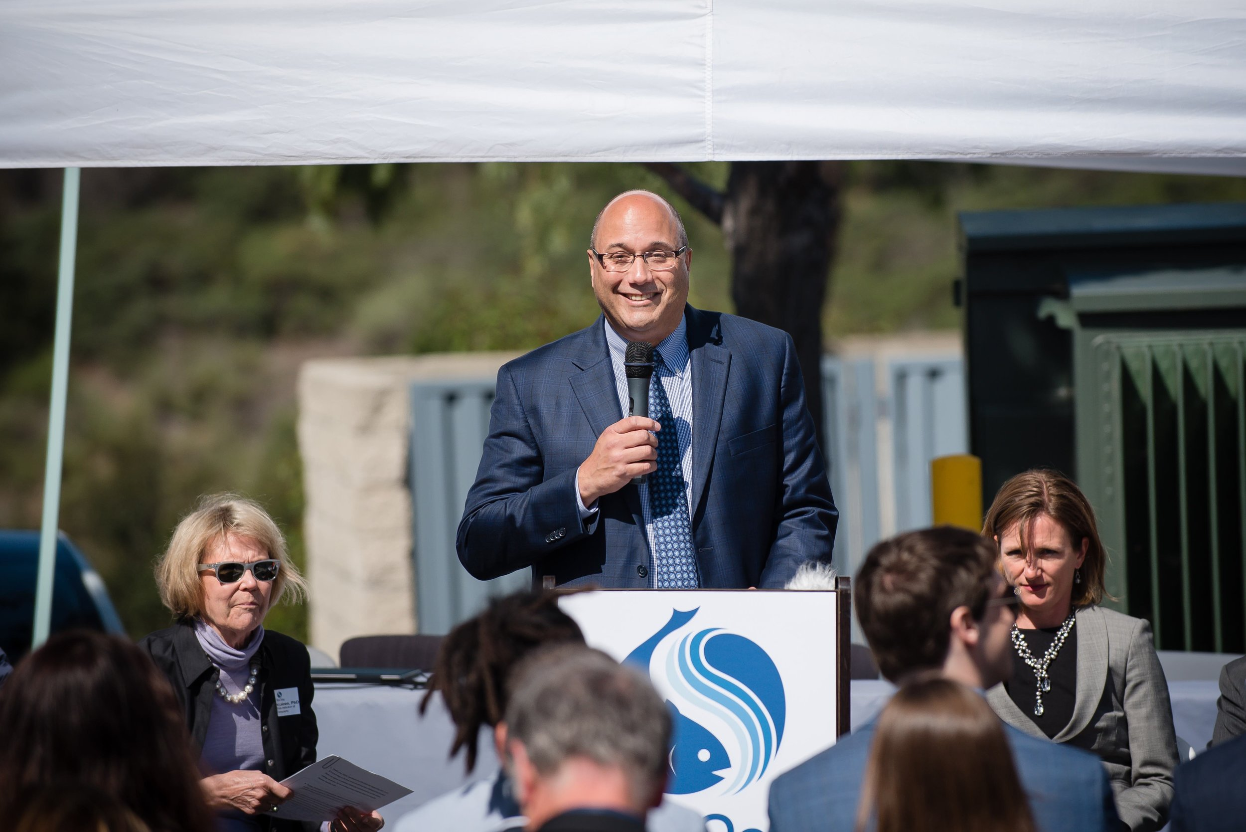 BlueNalu CEO Lou Cooperhouse addressing San Diego officials and the media at the BlueNalu Ribbon Cutting Ceremony, Earth Day, April 22, 2019.