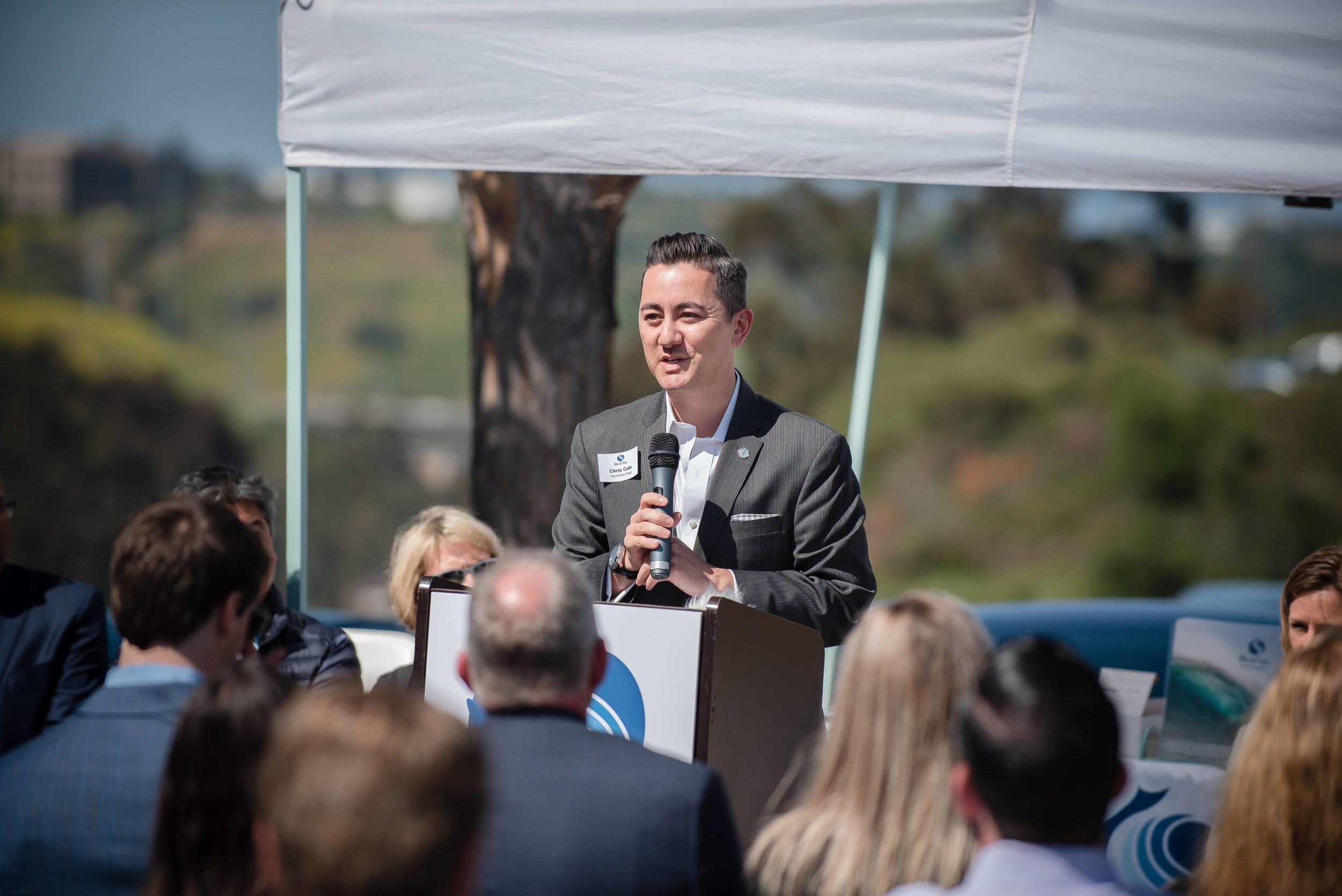 Councilmember Chris Cate addressing the crowd at the BlueNalu Ribbon Cutting Ceremony, Earth Day, April 22, 2019.