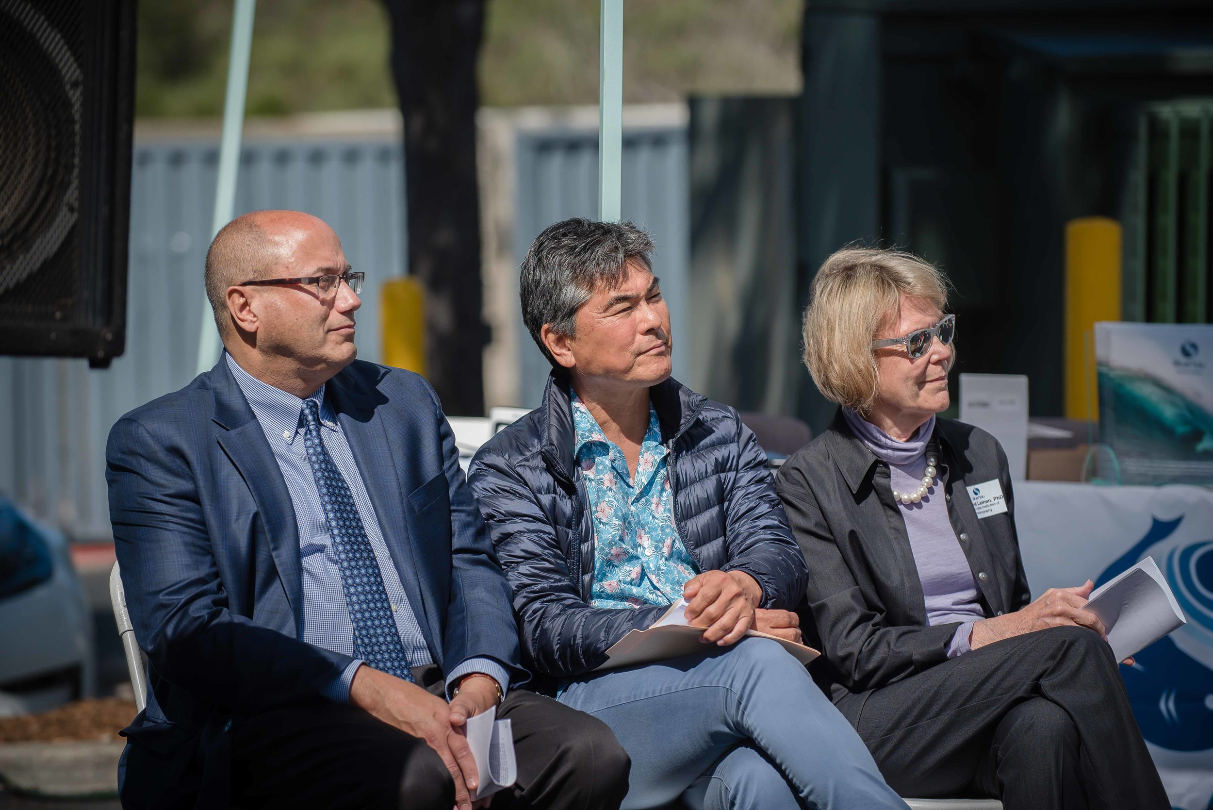 BlueNalu CEO Lou Cooperhouse, Celebrity Chef Roy Yamaguchi, and Margaret Leinen, PhD, Director, UC San Diego Scripps Institution of Oceanography at the BlueNalu Ribbon Cutting Ceremony, Earth Day, April 22, 2019.