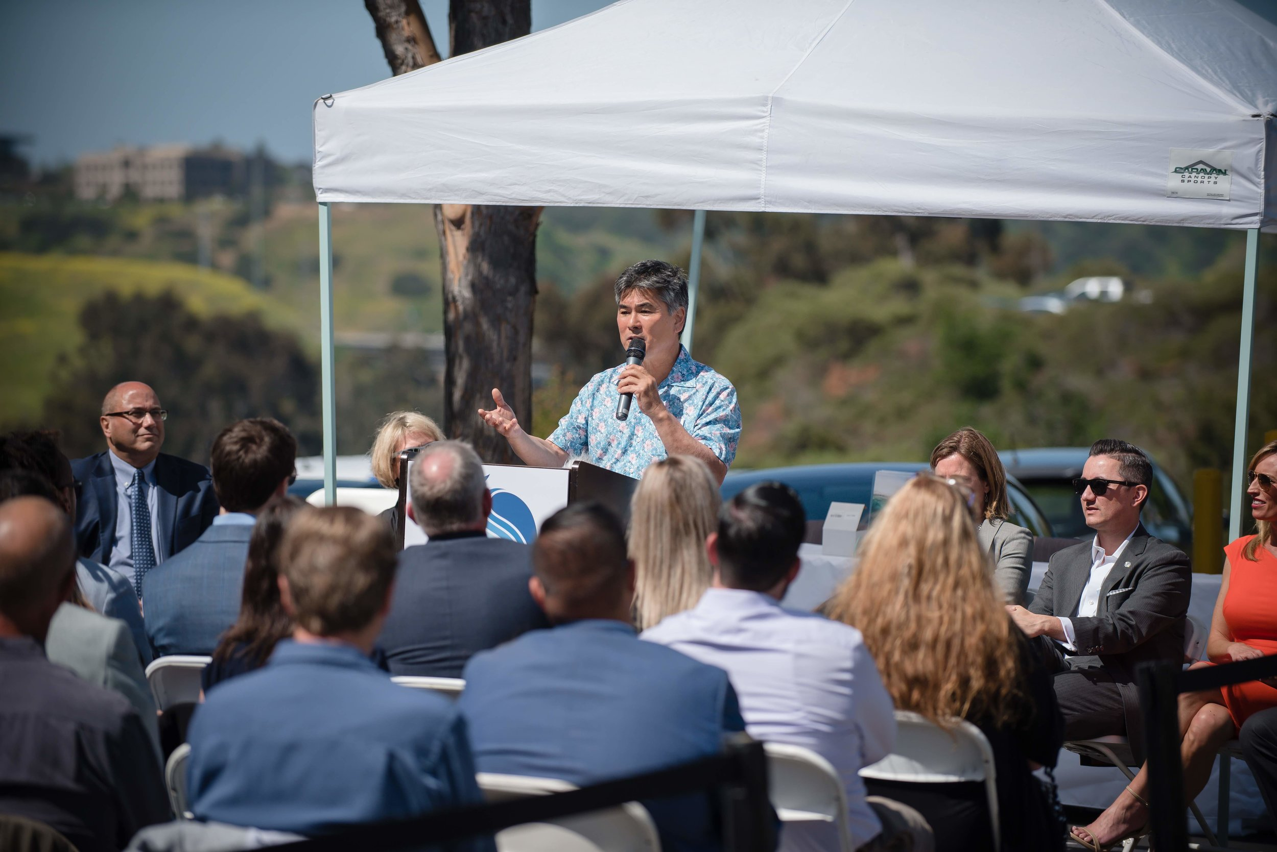 Celebrity Chef Roy Yamaguchi addressing San Diego officials and the media at the BlueNalu Ribbon Cutting Ceremony, Earth Day, April 22, 2019.