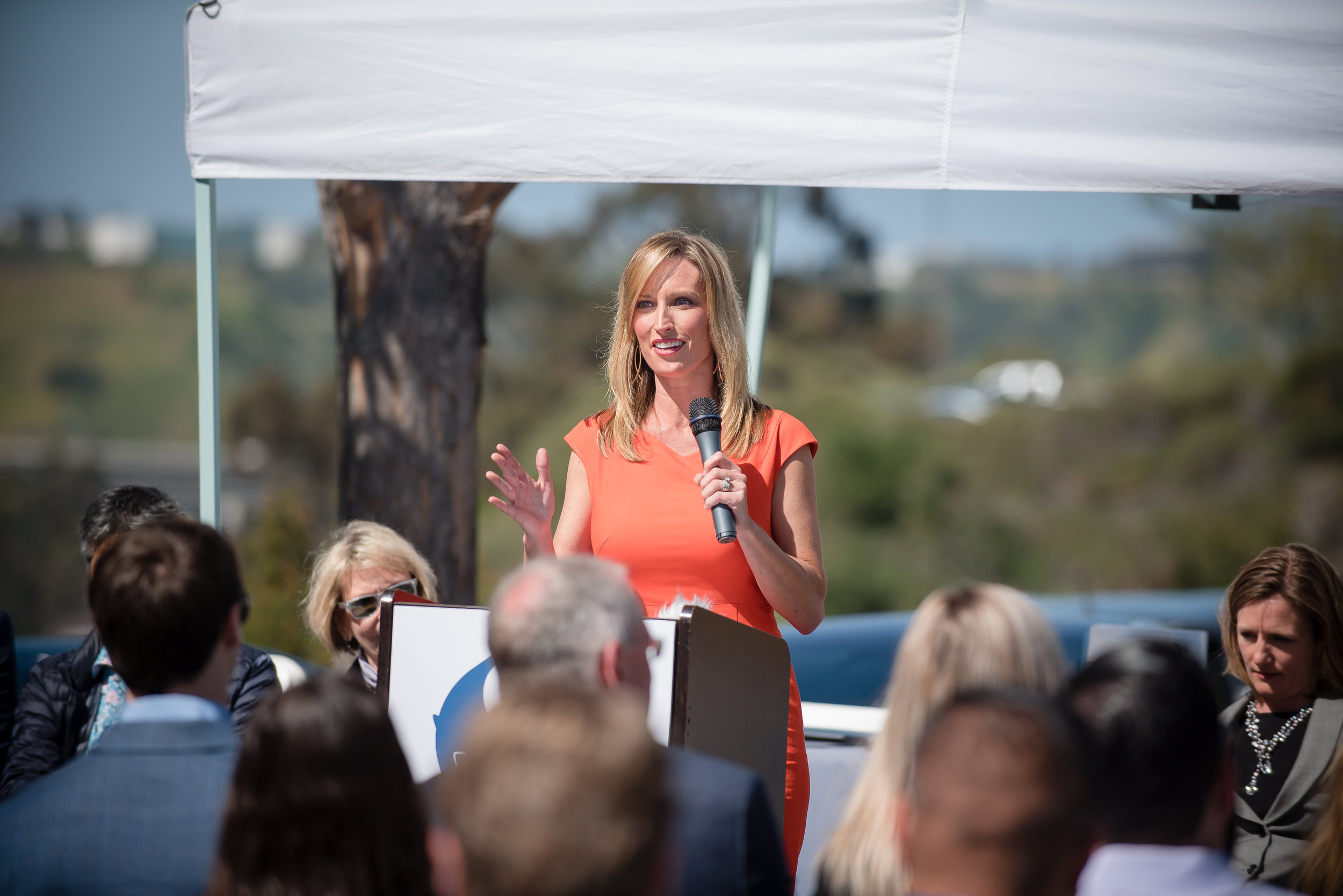 County Supervisor Kristin Gaspar at the BlueNalu Ribbon Cutting Ceremony, Earth Day, April 22, 2019.