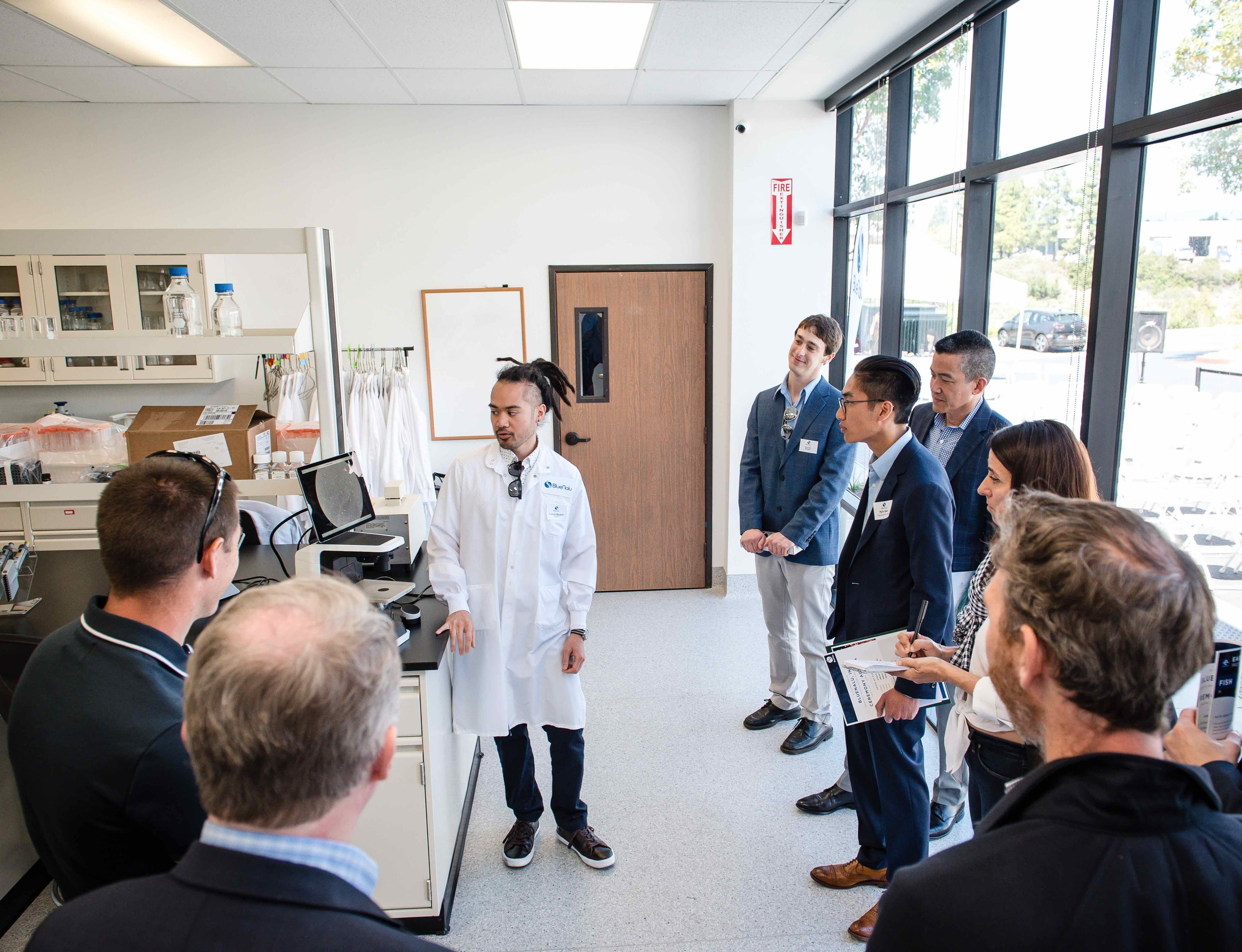 Francis Bauzon, Research Associate II at BlueNalu, leading a lab tour at the BlueNalu Ribbon Cutting Ceremony, Earth Day, April 22, 2019.