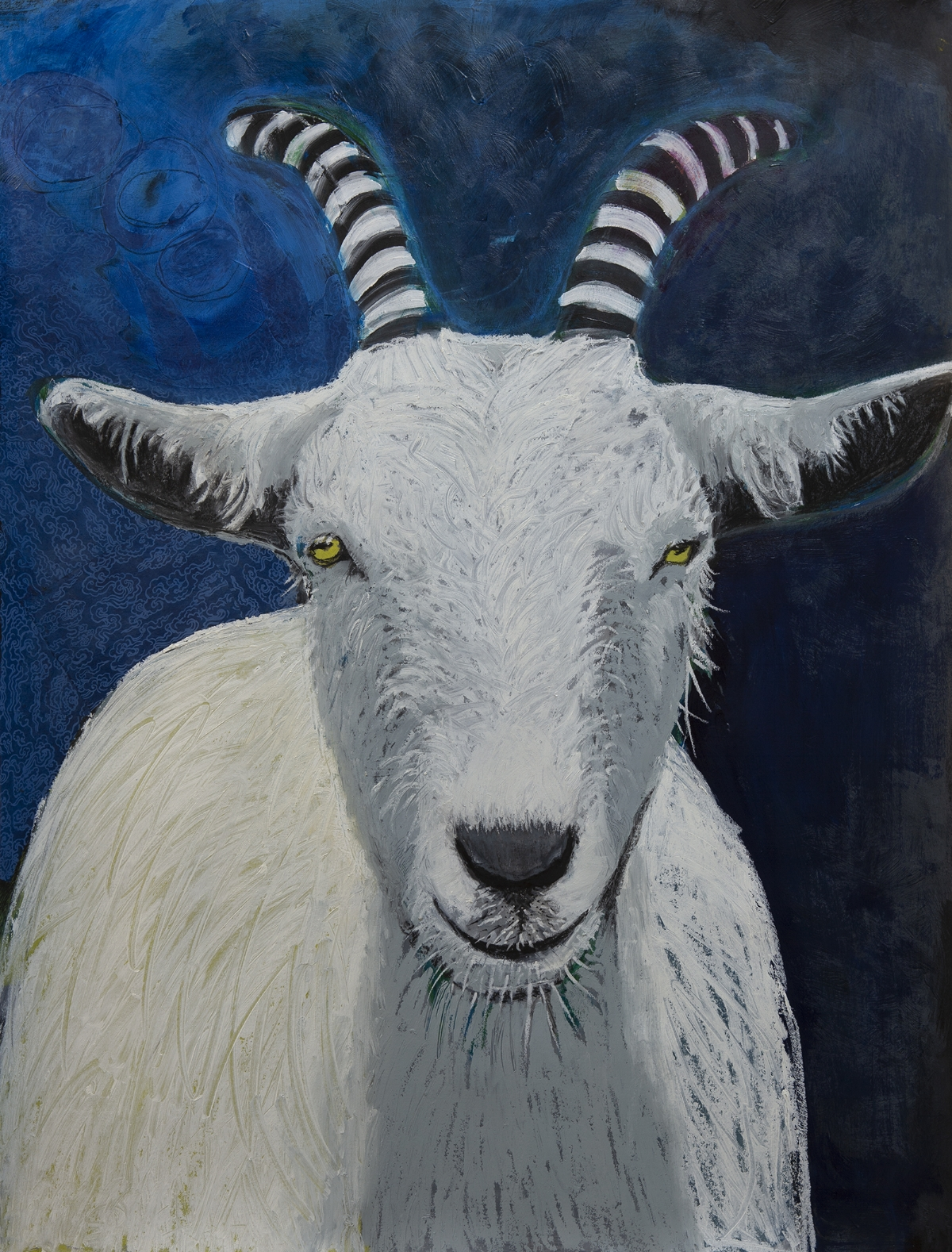 It all started when. . . - I saw a picture of this goat and fell in love with him. Though I don't normally paint animals, something about him spoke to me and I roughly sketch him on big paper. After laying down the background blue I looked at him hanging on the wall for about a month thinking,