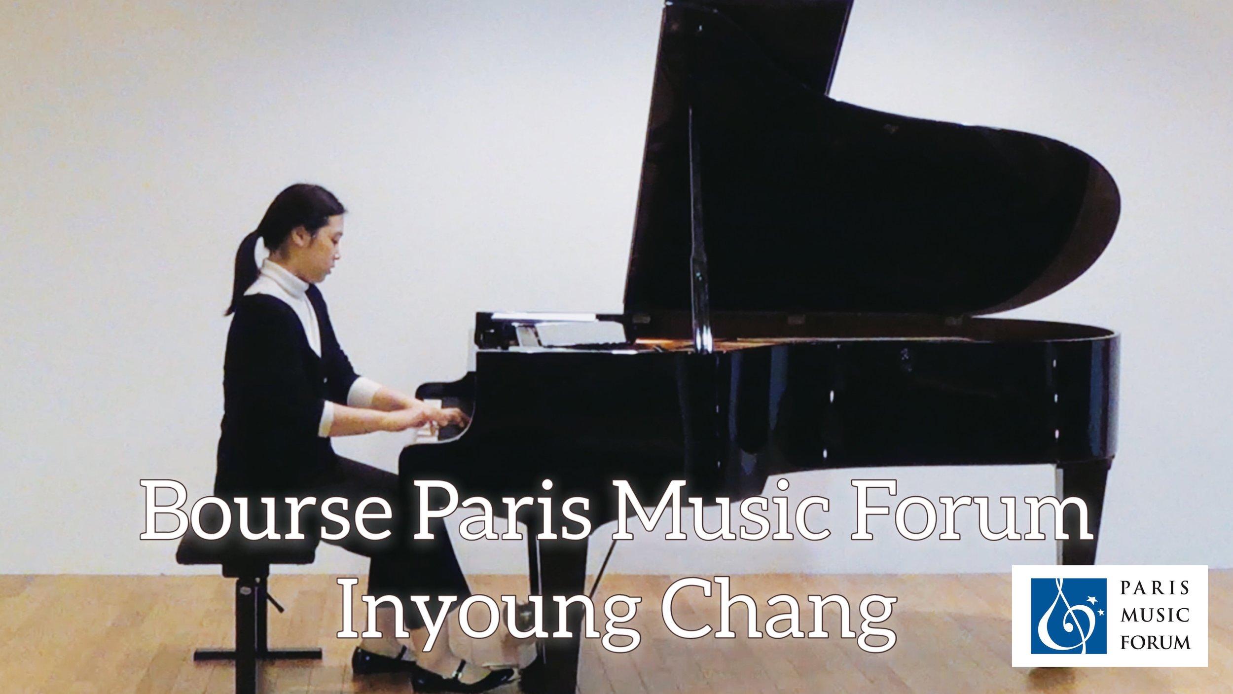 Bourse Paris Music Forum   Inyoung C H A N G   Diplôme avec une Bourse* sous forme d'avoir-remboursement des frais d'hôtel dans la limite de 200 euros (voir ci-dessous pour les détails de la récompense)