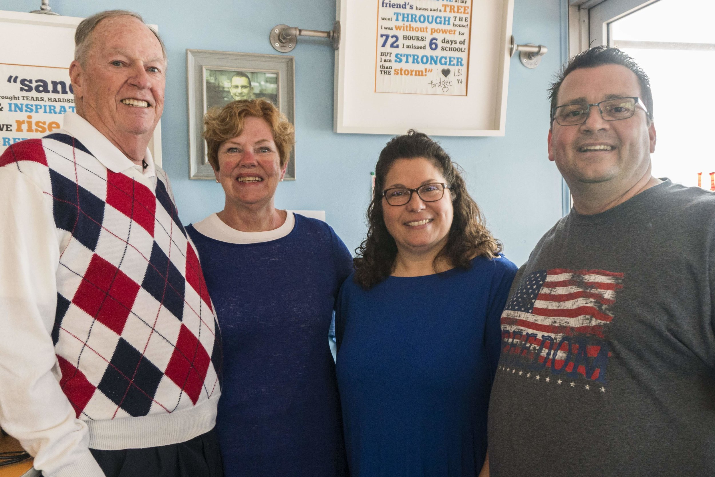Former owners of the LBI Pancake House, the Waldrons (left) pose with the new owners, Christine and Victor Bilcik. Photo: Tori Bilcik, 2018.