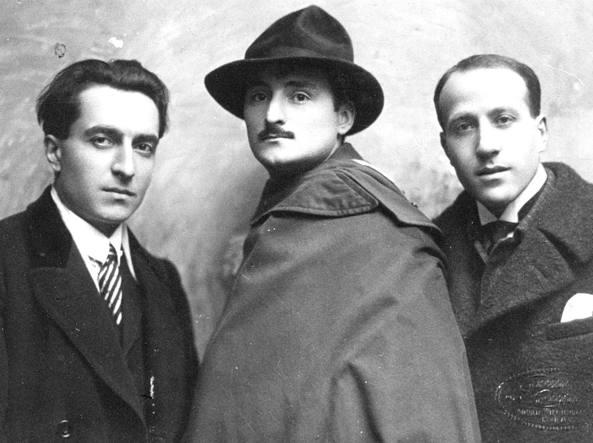 Clemente Rebora (a sinistra) con i pittori Bruno Furlotti e Michele Cascella