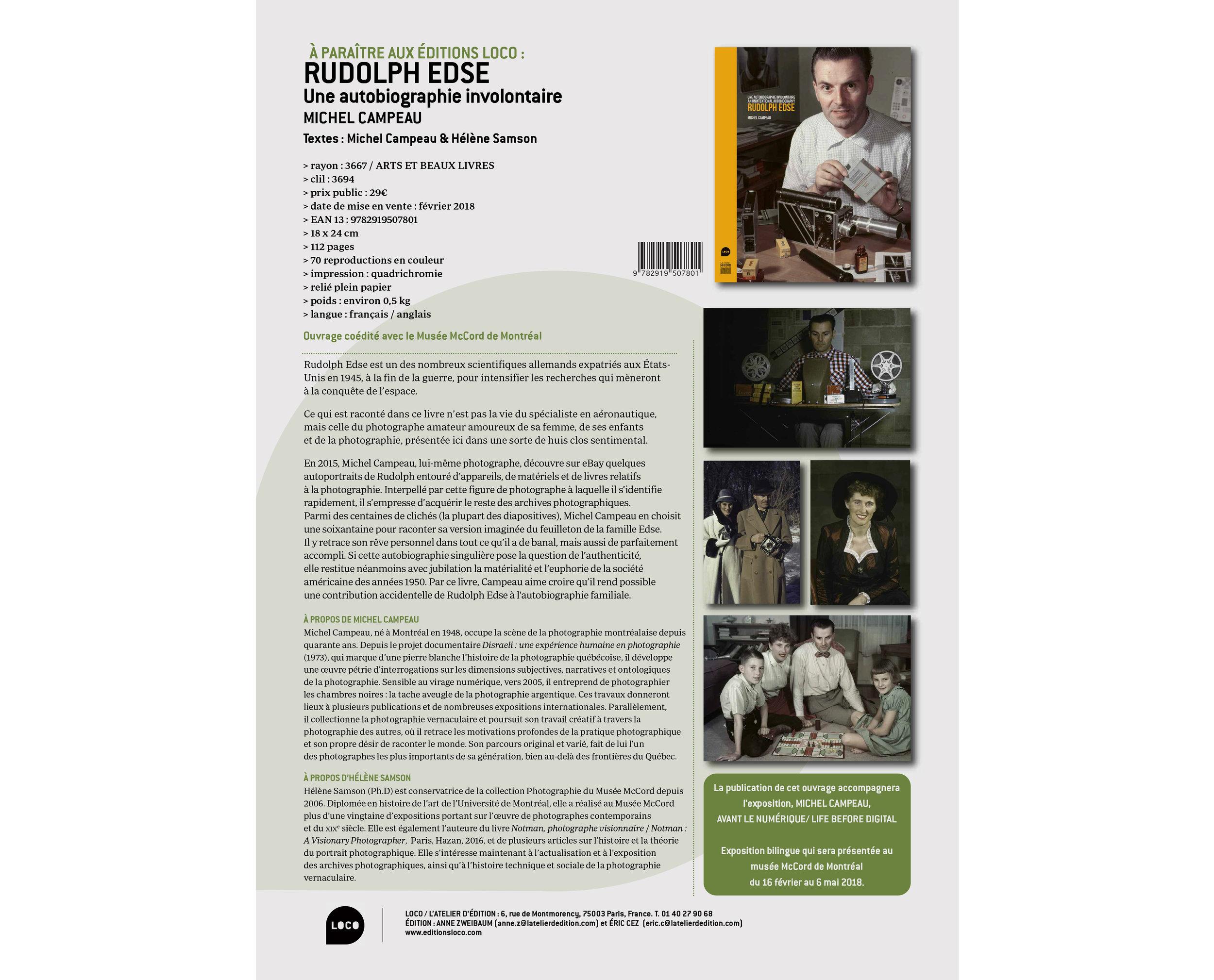 Communiqué des Éditions Loco pour la promotion de l'album  Rudolph Edse. Une autobiographie involontaire