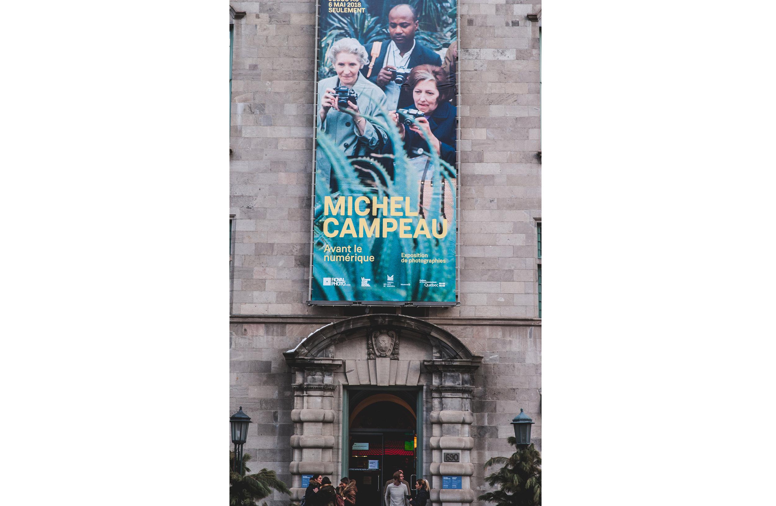 Vue de la bannière extérieure de l'exposition  Michel Campeau. Avant le numérique , © Maude Touchette