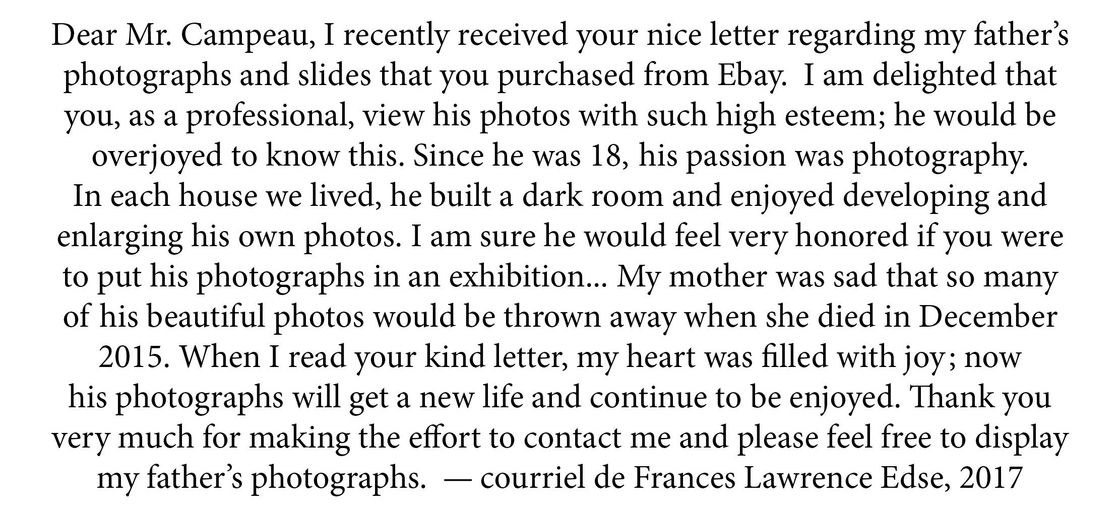 Texte courriel de Frances Lawrence Edse à propos de la publication des photographies de son père Rudolph Edse