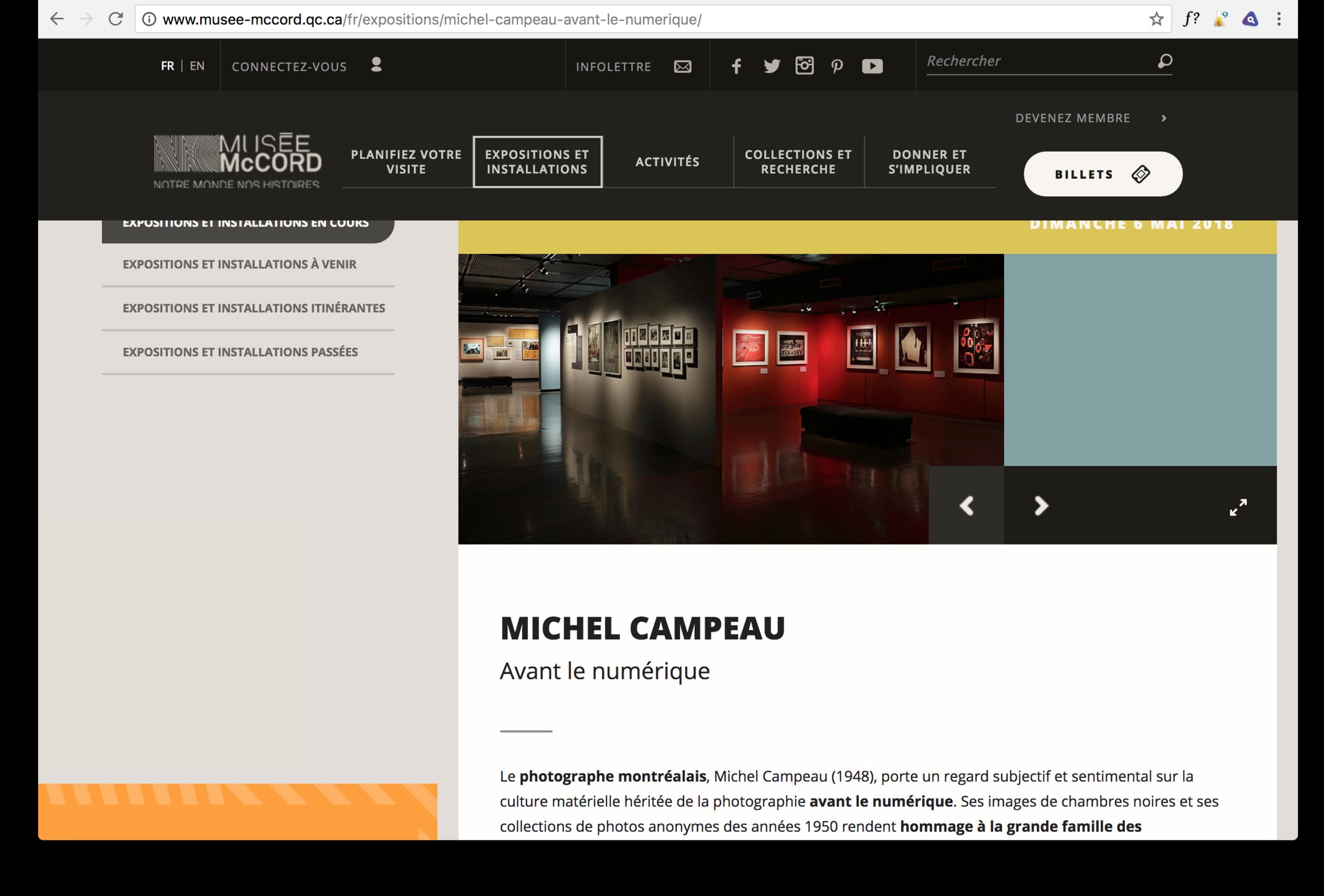 Le site du Musée McCord, Montréal, Québec  www.musee-mccord.qc.ca/fr/expositions/michel-campeau-avant-le-numerique