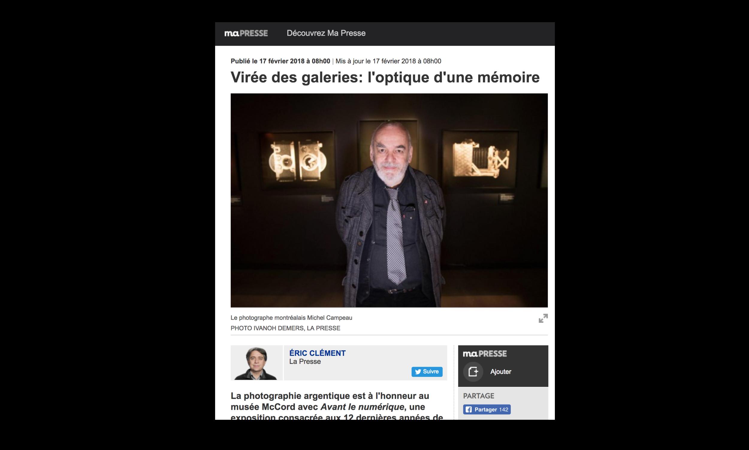 Virée des galeries: l'optique d'une mémoire , Éric Clément, samedi 17 février 2018, Photo de Ivanoh Demers, La Presse  www.lapresse.ca/arts/arts-visuels/201802/16/01-5154151-viree-des-galeries-loptique-dune-memoire.php