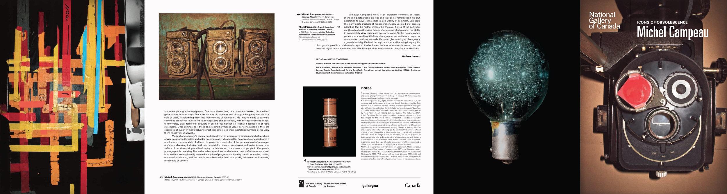 Version française du dépliant de l'exposition  Michel Campeau : Icônes de l'obsolescence  Andrea Kunard, Musée des Beaux-Arts du Canada, Ottawa, Ontario, 2013