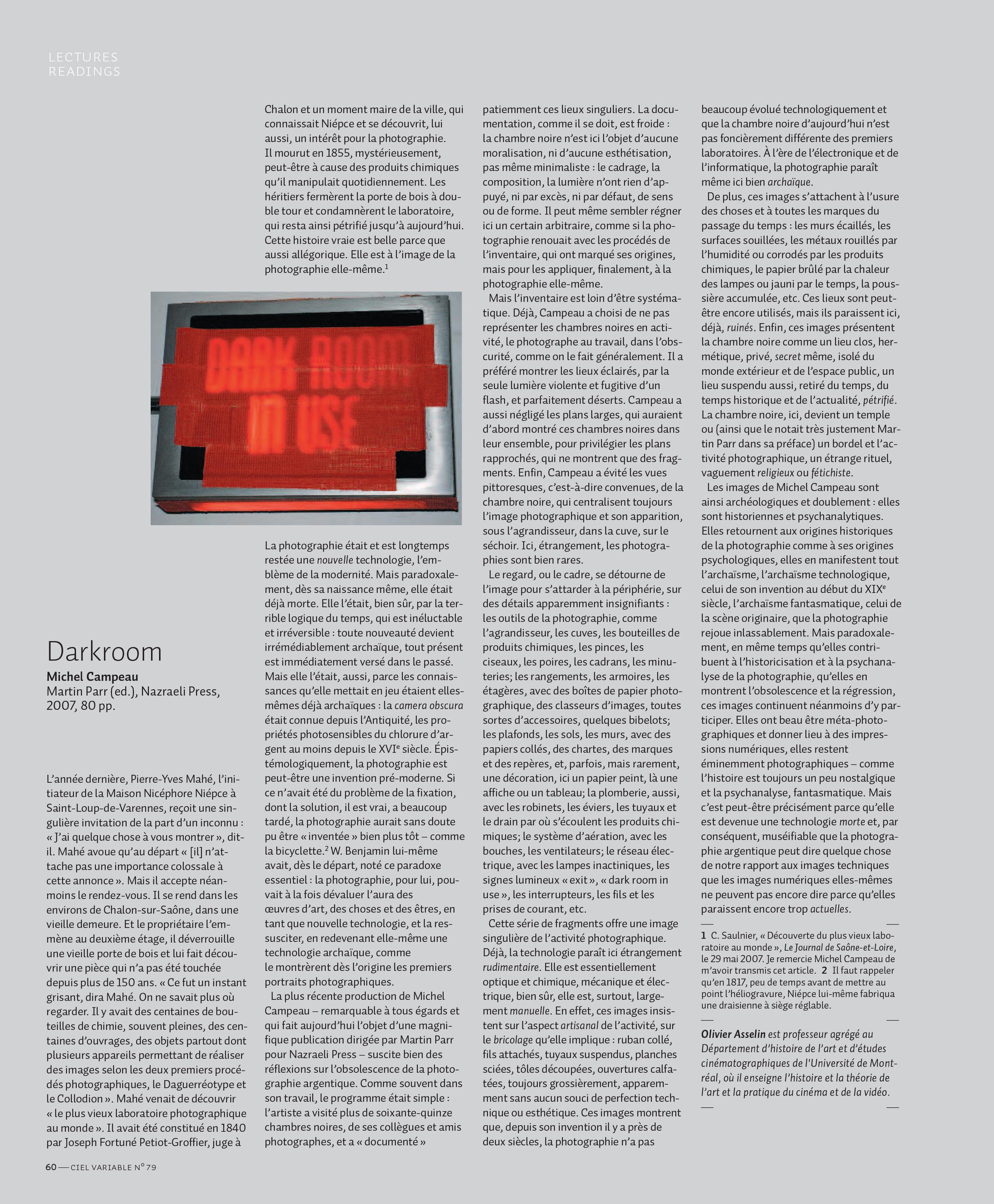 Olivier Asselin,  Darkroom : Michel Campeau,  CV 79, Montréal, été 2008, p.60