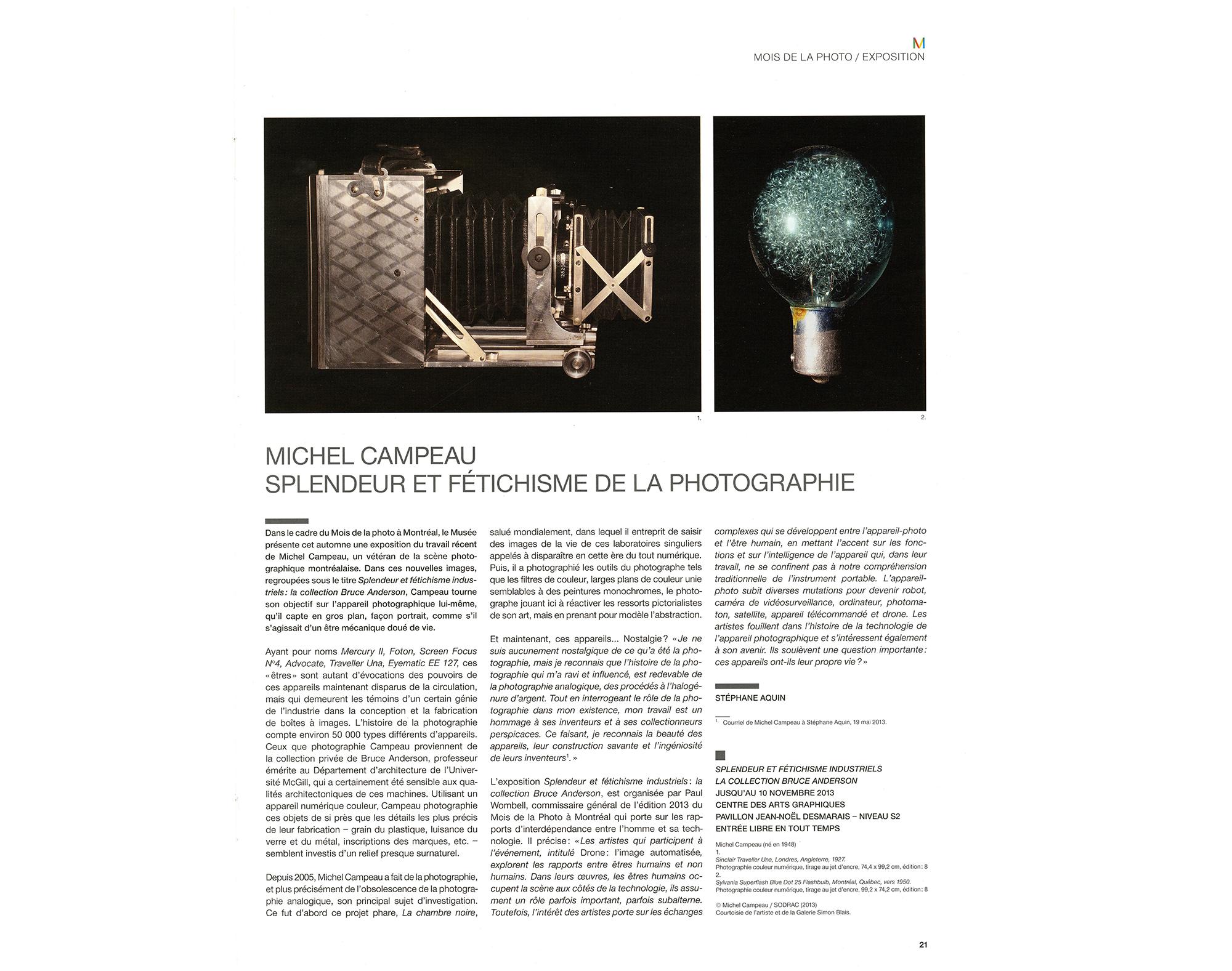 Stéphane Aquin, La revue du Musée des Beaux-Arts de Montréal, de septembre à décembre 2013, p. 21