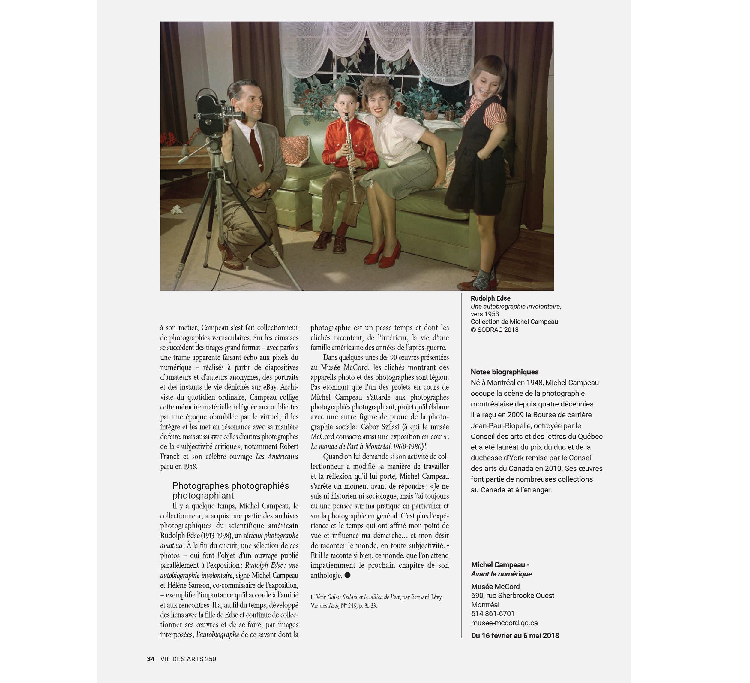 Marie-Claude Mirandette, «La Rencontre de l'autre et de soi», Vie des Arts, n° 250, printemps 2018, p. 32 à 34