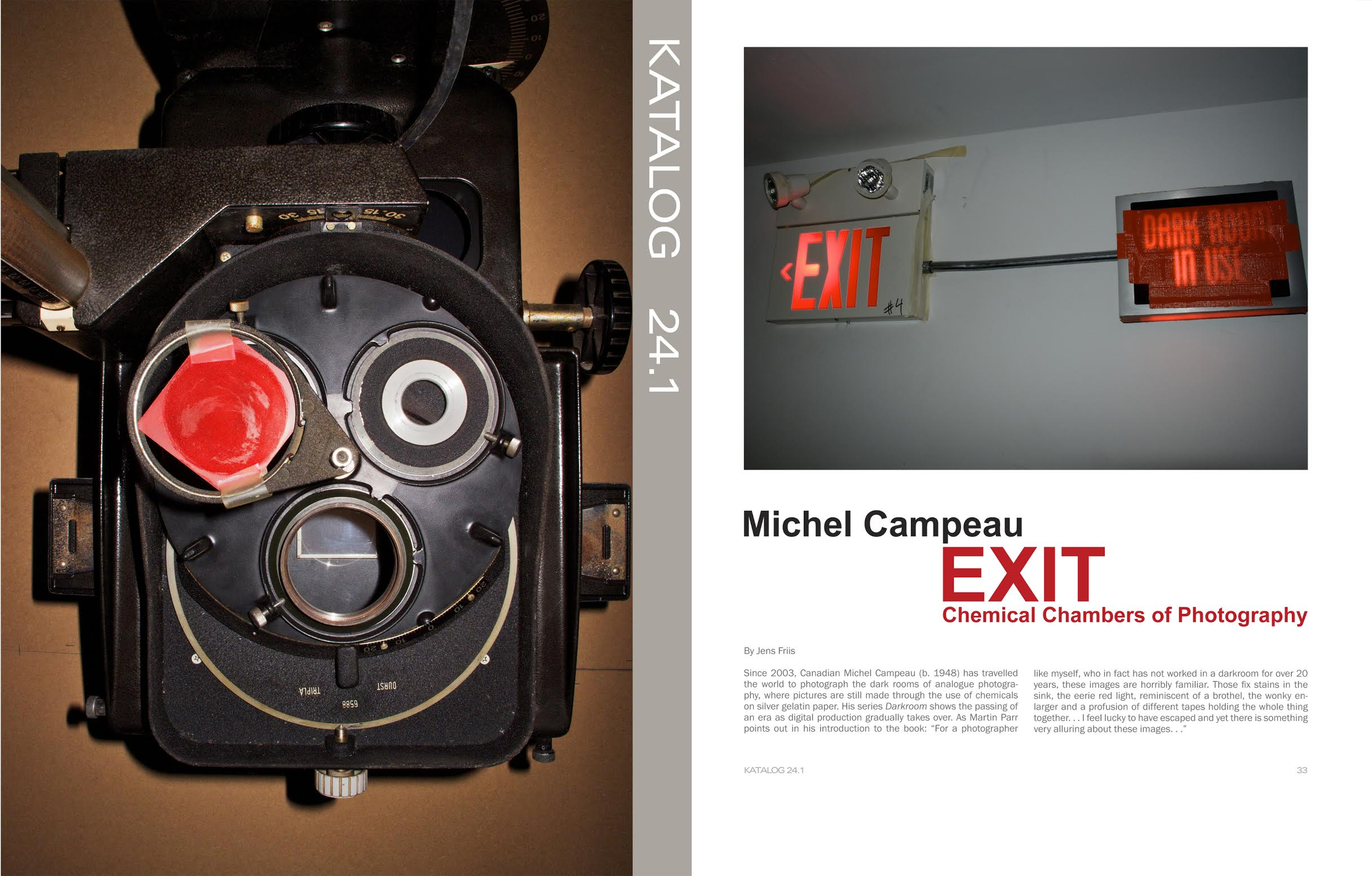 EXIT — Chemical Chambers of Photography  Jeans Friss, Katalog 24.1, Museet for Fotokunst, Odense, Danemark, printemps 2012